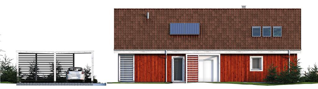 Projekt domu SKANDYNAWSKI Domy Czystej Energii elewacja frontowa