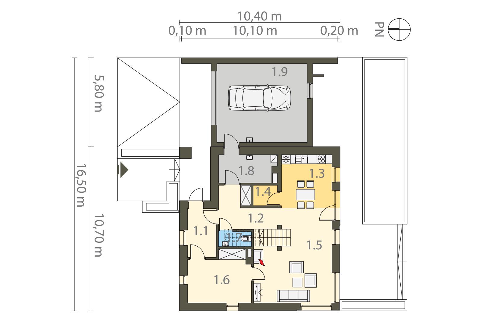 Projekt domu SOLIDNY Domy Czystej Energii rzut parteru