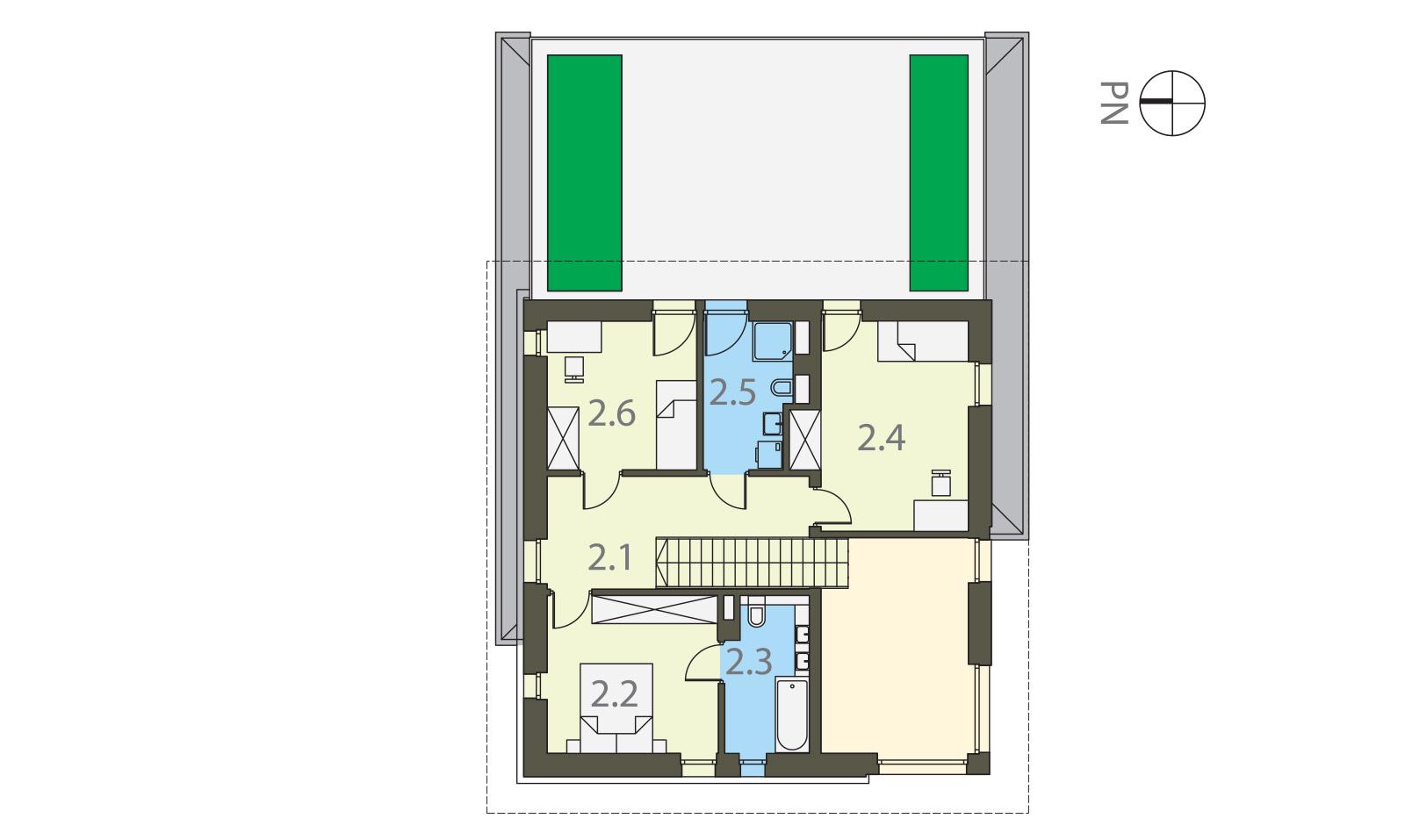 Projekt domu SOLIDNY Domy Czystej Energii rzut piętra