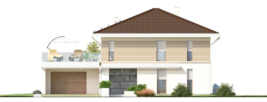 Projekt domu SOLIDNY Domy Czystej Energii elewacja frontowa