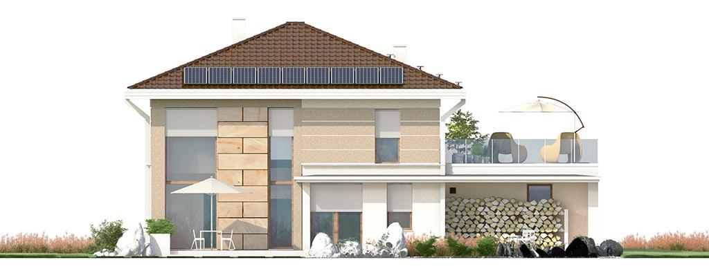 Projekt domu SOLIDNY Domy Czystej Energii elewacja tylna