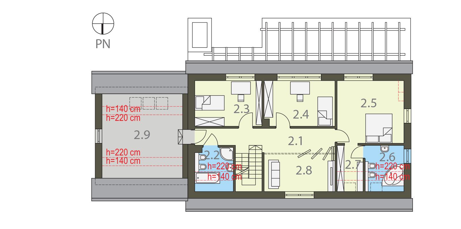 Projekt domu SUDECKI Domy Czystej Energii rzut piętra
