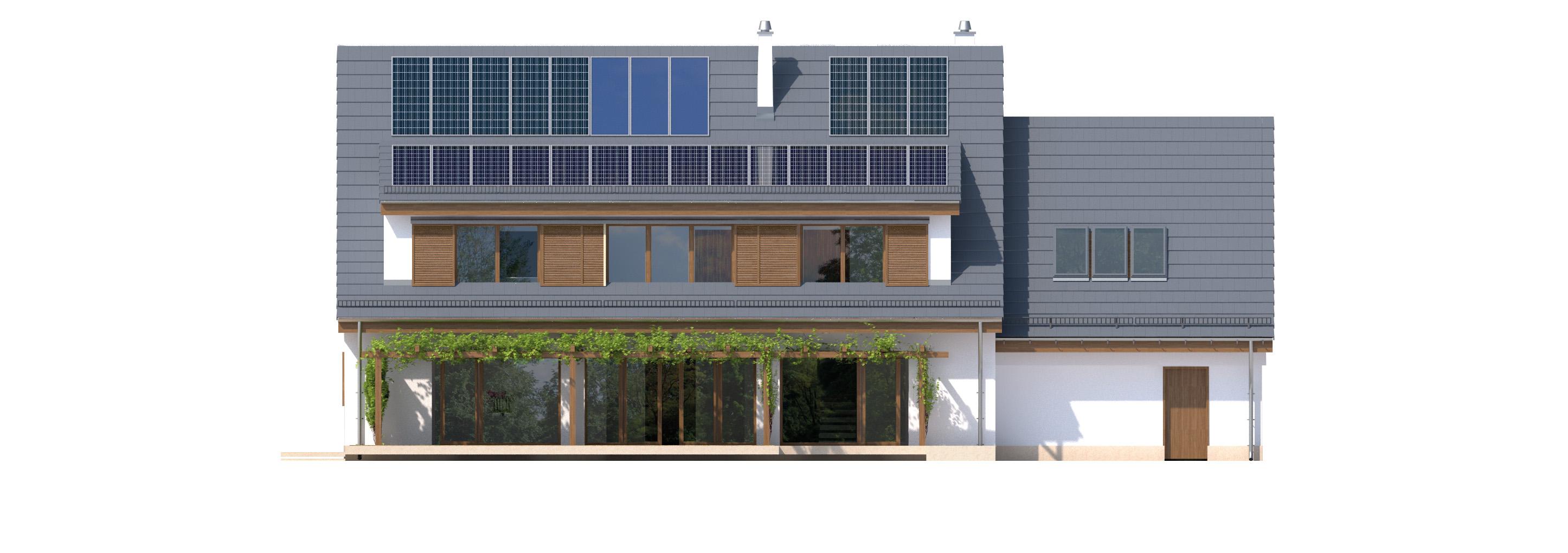 Projekt domu SUDECKI Domy Czystej Energii elewacja tylna