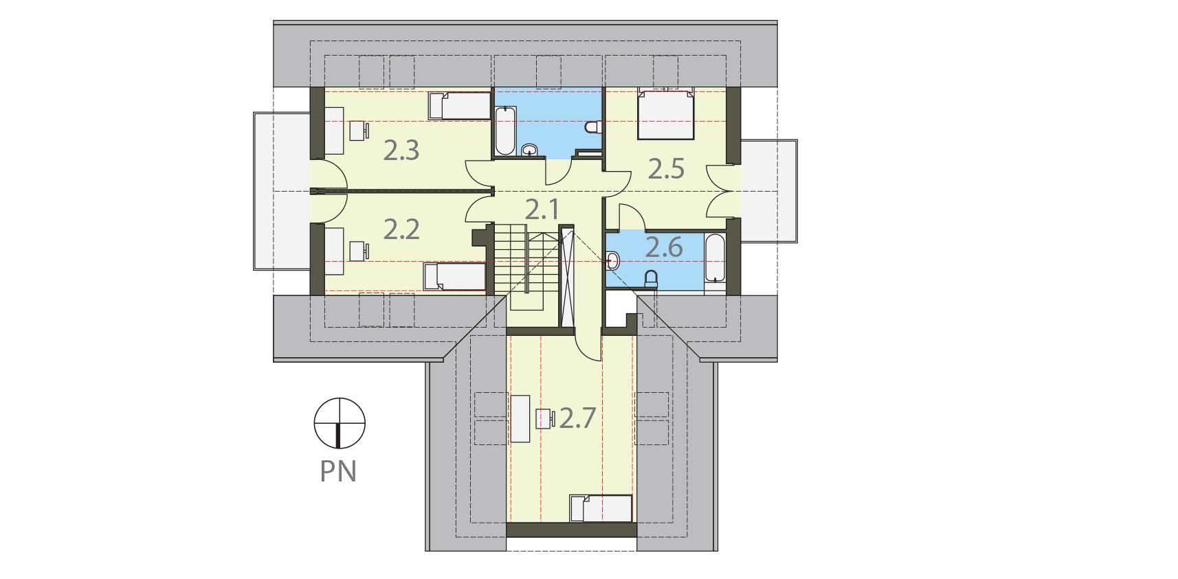 Projekt domu SWOJSKI Domy Czystej Energii rzut piętra