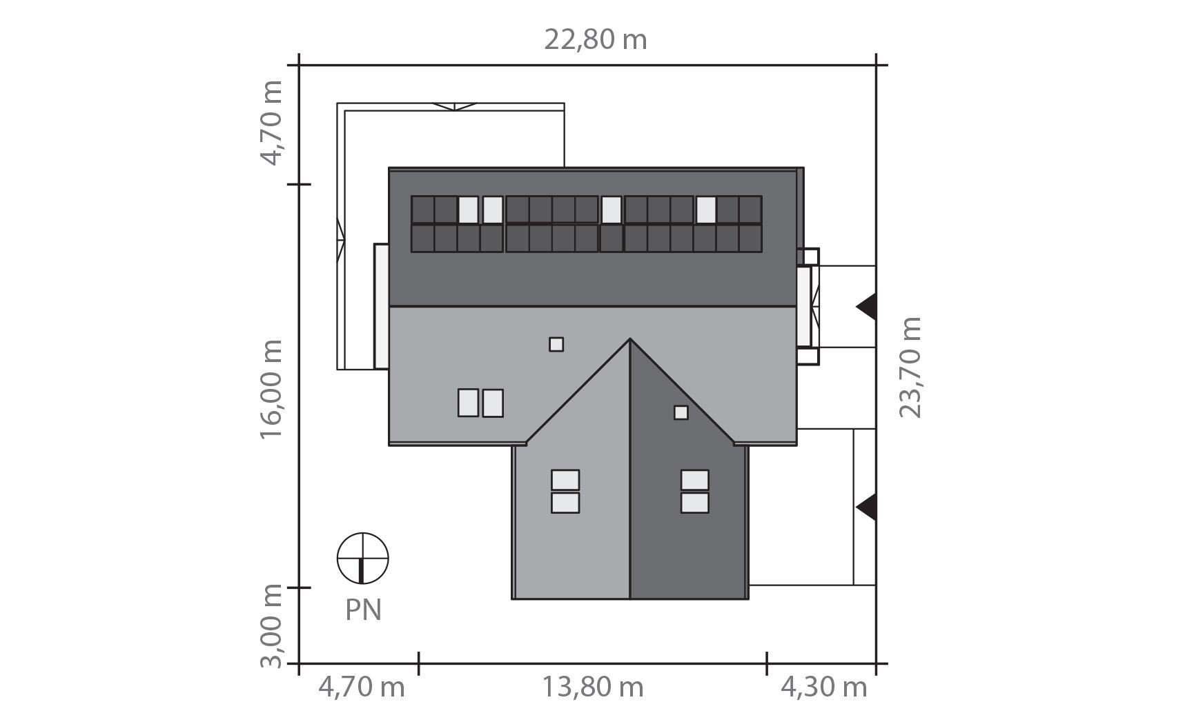 Projekt domu SWOJSKI Domy Czystej Energii rzut działki
