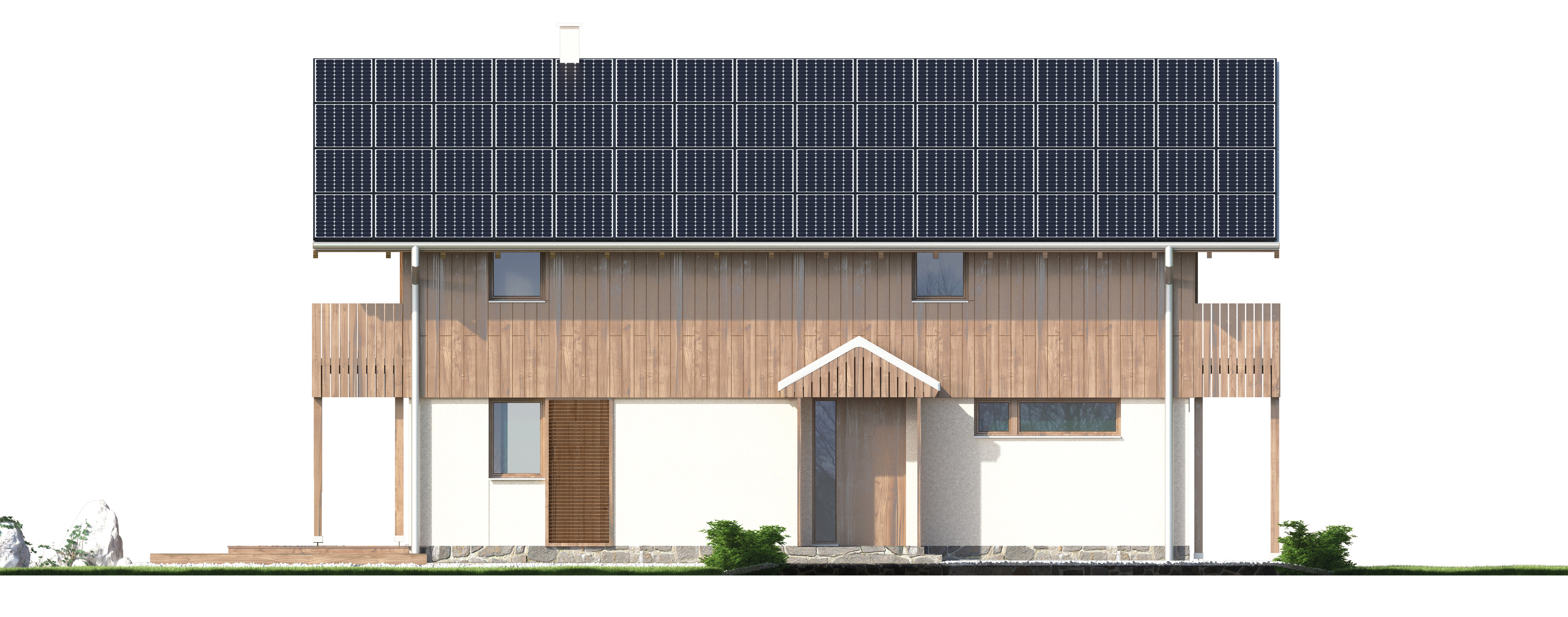Projekt domu SZWAJCARKA Domy Czystej Energii elewacja frontowa