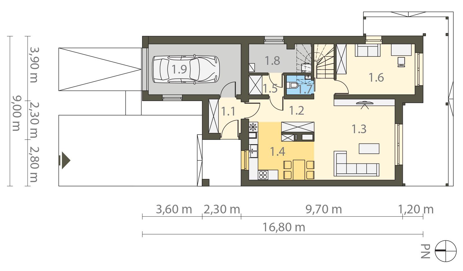 Projekt domu TWIN CLASSIC Domy Czystej Energii rzut parteru
