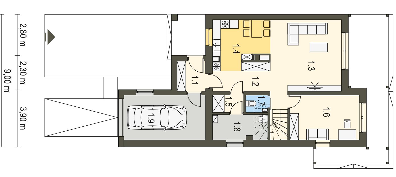 Projekt domu TWIN CLASSIC Domy Czystej Energii rzut piętra