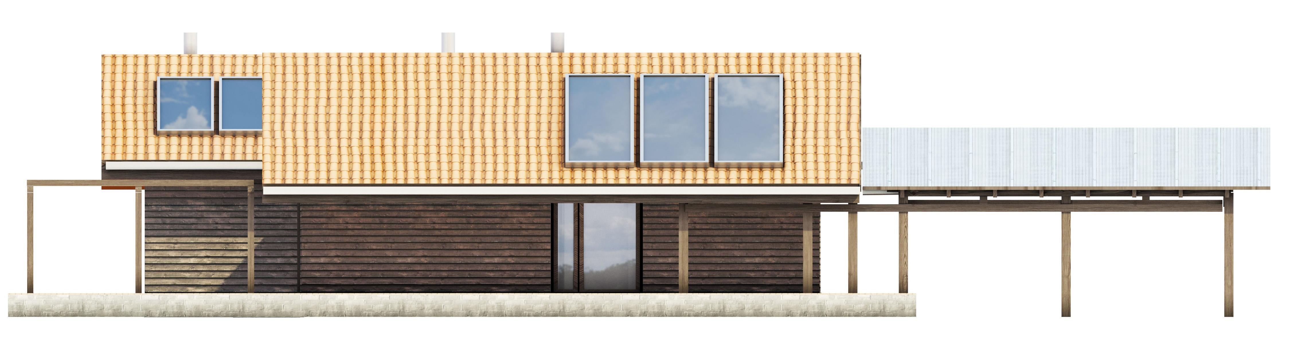 Projekt domu TARASOWY Domy Czystej Energii elewacja boczna