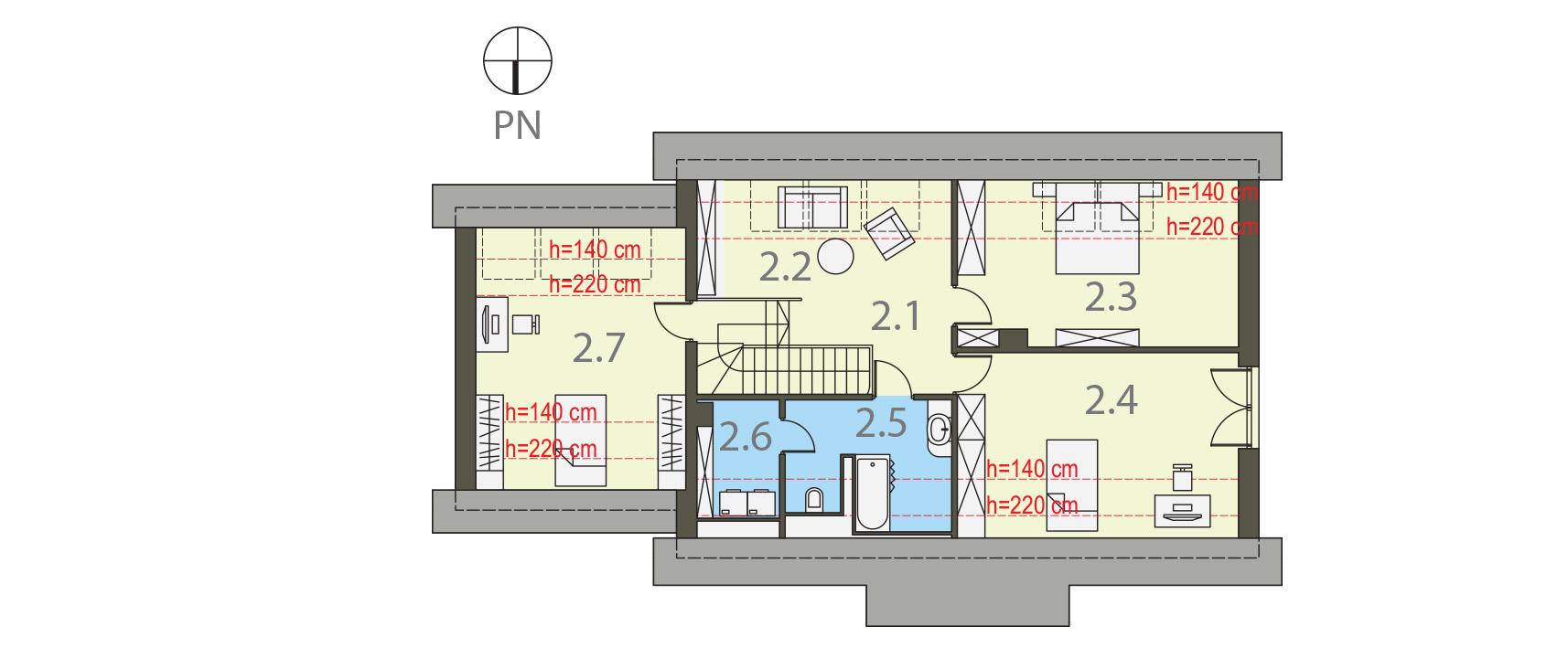 Projekt domu TRADYCYJNY Domy Czystej Energii rzut piętra