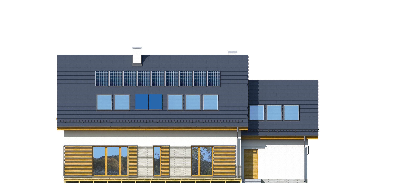 Projekt domu TRADYCYJNY Domy Czystej Energii elewacja tylna