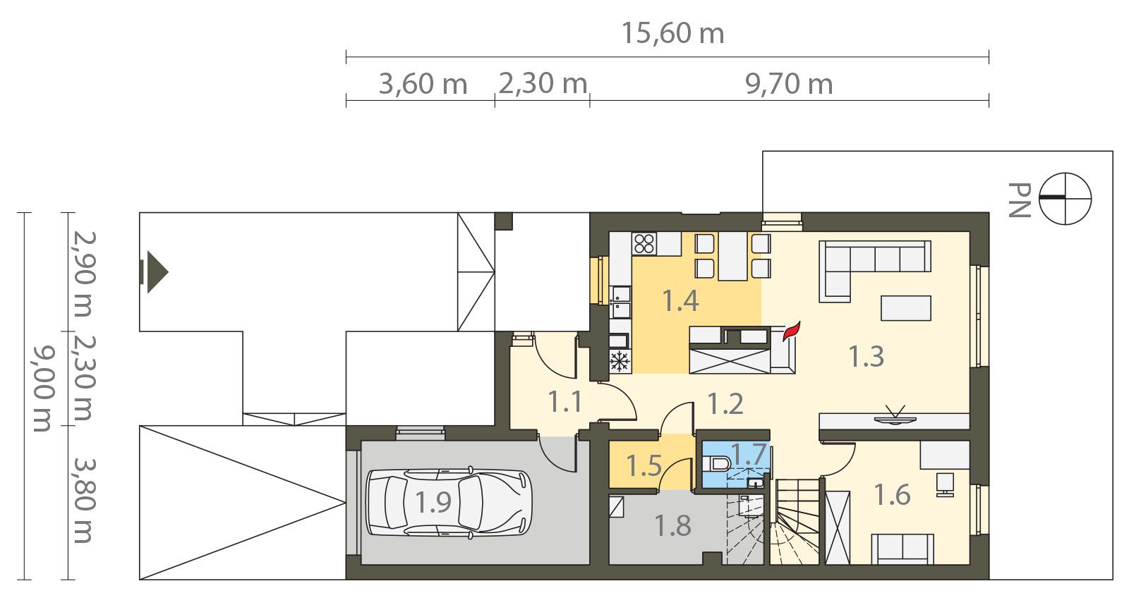 Projekt domu TWIN ECONOMIC A Domy Czystej Energii rzut parteru
