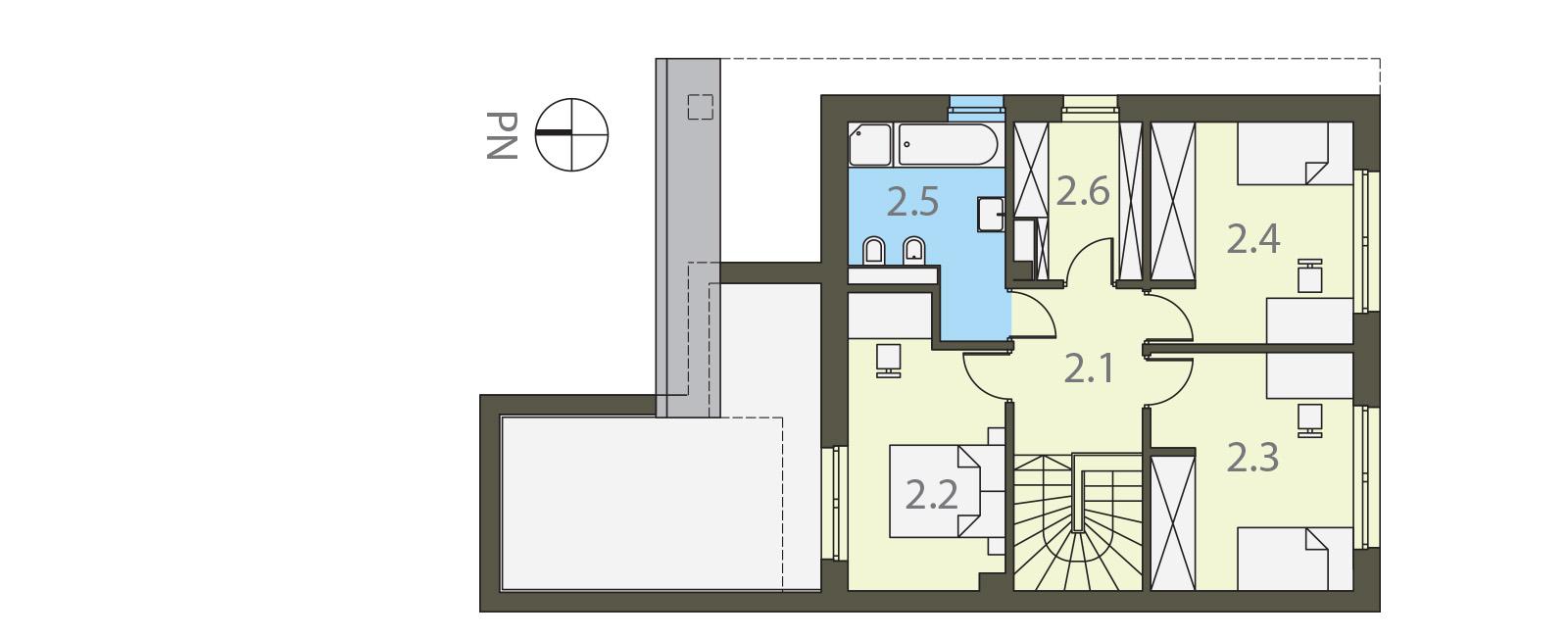 Projekt domu TWIN ECONOMIC A Domy Czystej Energii rzut piętra