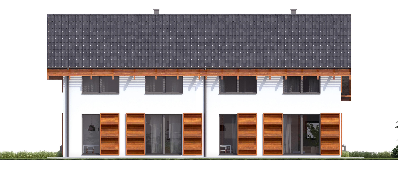 Projekt domu TWIN ECONOMIC A Domy Czystej Energii elewacja tylna