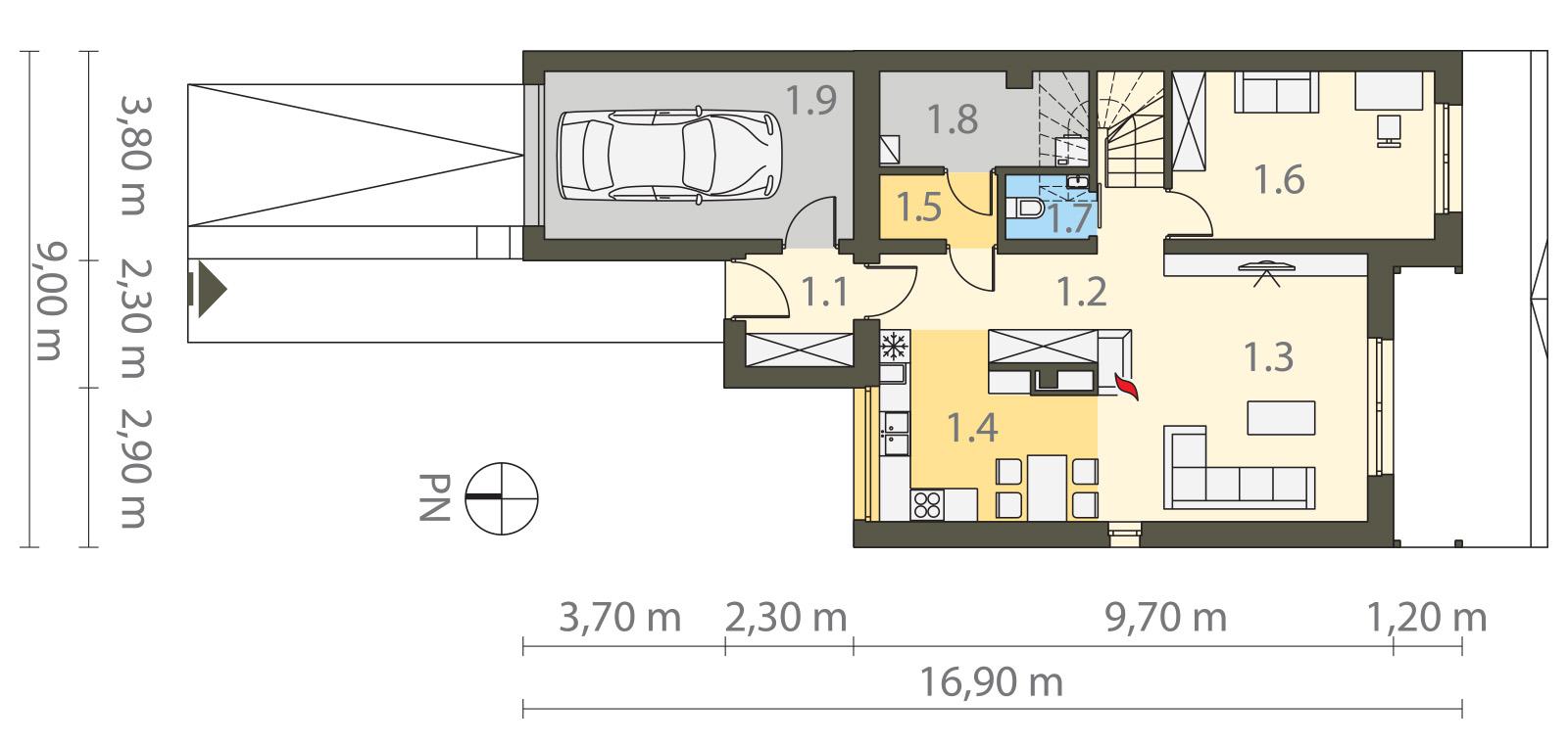 Projekt domu TWIN MODERN A Domy Czystej Energii rzut parteru