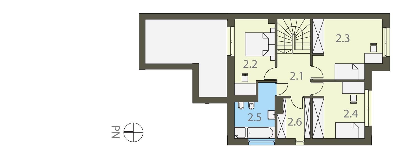 Projekt domu TWIN MODERN A Domy Czystej Energii rzut piętra