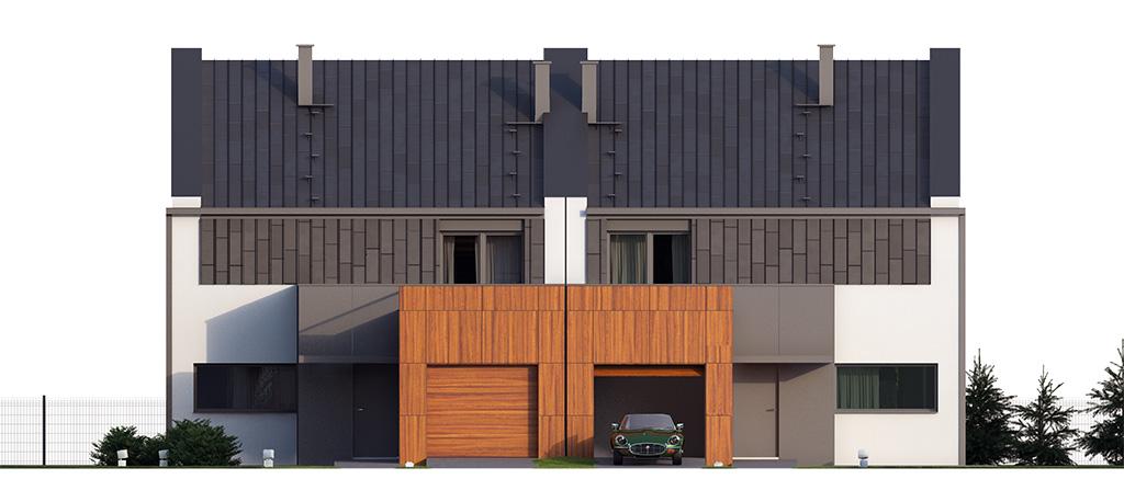 Projekt domu TWIN MODERN B Domy Czystej Energii elewacja frontowa