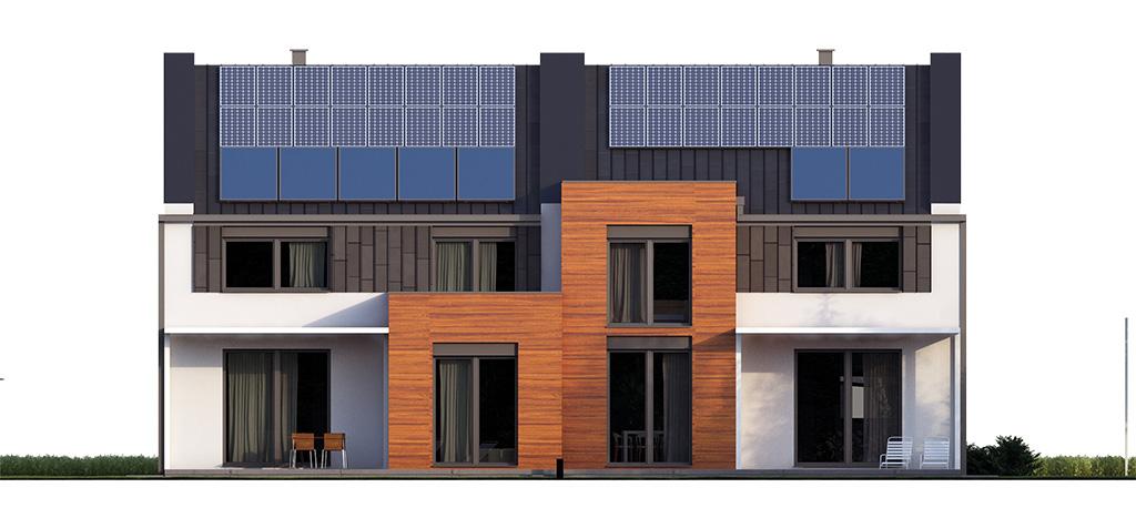 Projekt domu TWIN MODERN B Domy Czystej Energii elewacja tylna