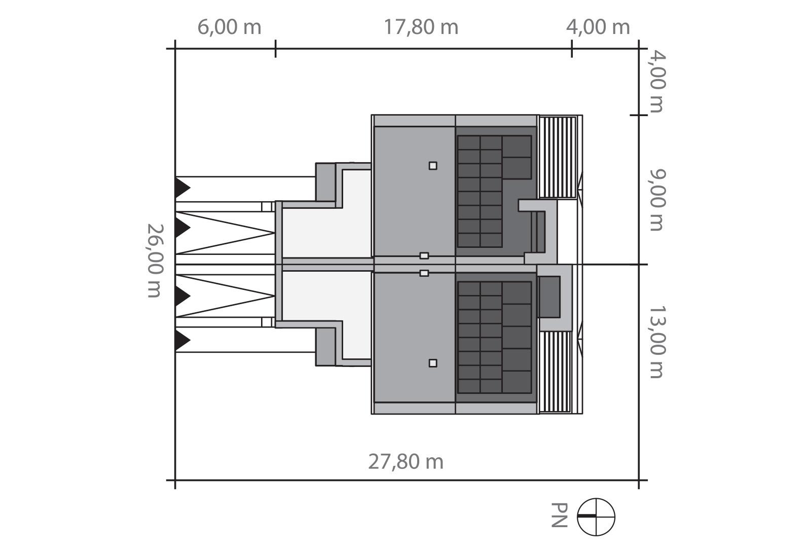 Projekt domu TWIN MODERN B Domy Czystej Energii rzut działki