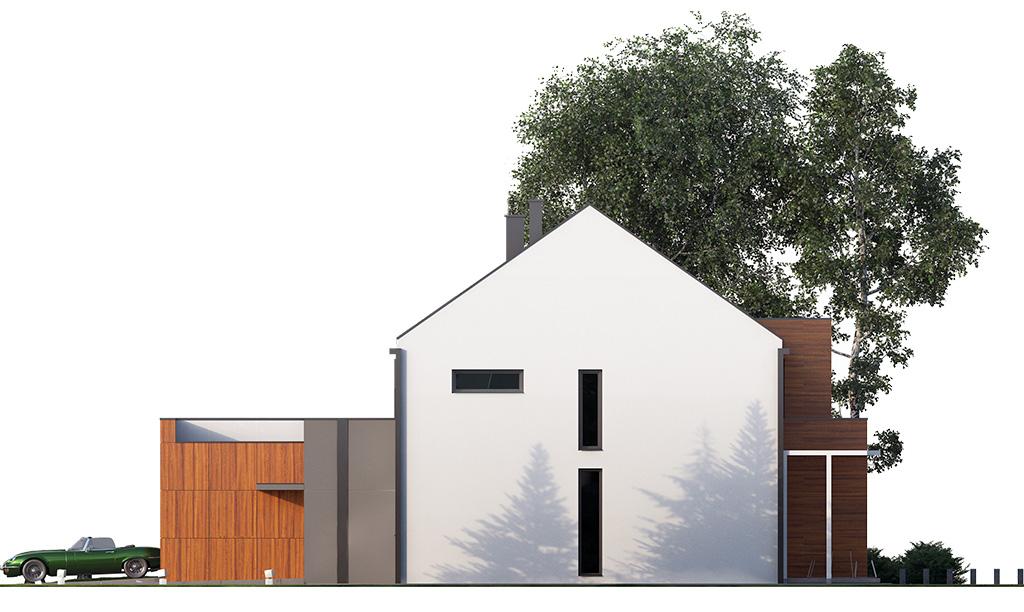 Projekt domu TWIN MODERN B Domy Czystej Energii elewacja boczna
