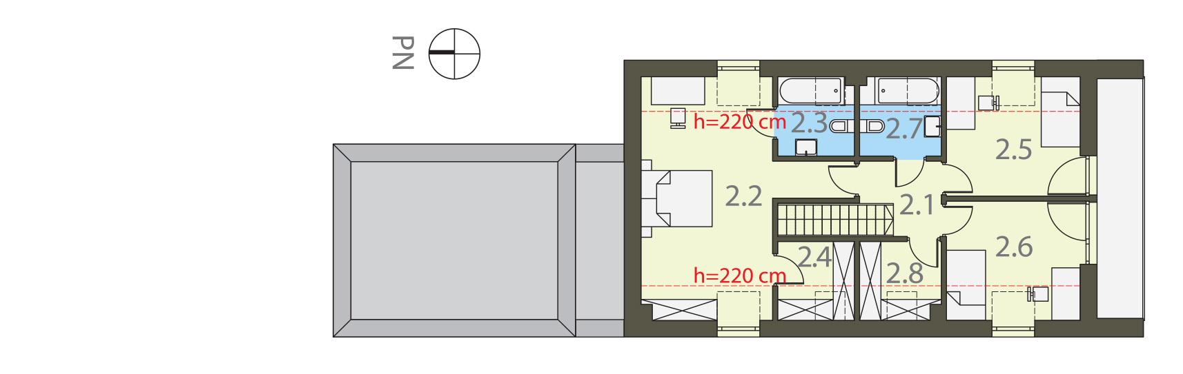 Projekt domu UKRYTY Domy Czystej Energii rzut piętra