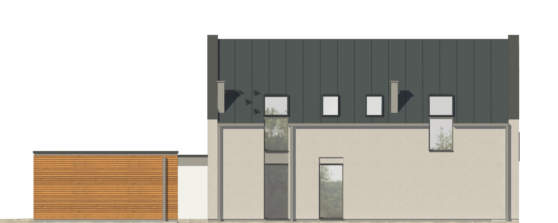 Projekt domu UKRYTY Domy Czystej Energii elewacja boczna