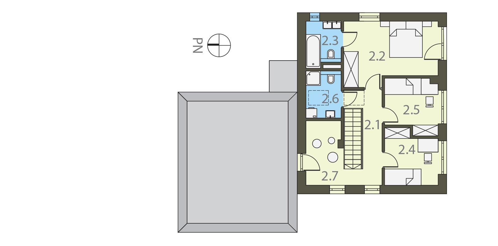 Projekt domu UNIWERSALNY Domy Czystej Energii rzut piętra