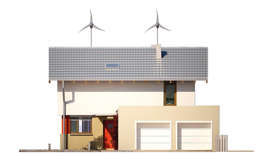 Projekt domu UNIWERSALNY Domy Czystej Energii elewacja frontowa
