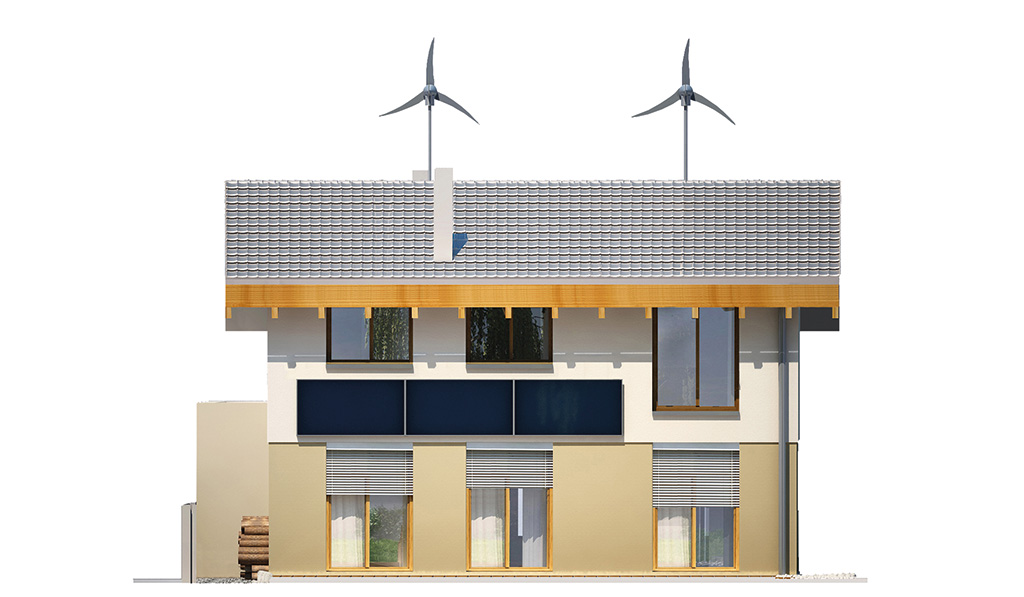 Projekt domu UNIWERSALNY Domy Czystej Energii elewacja tylna