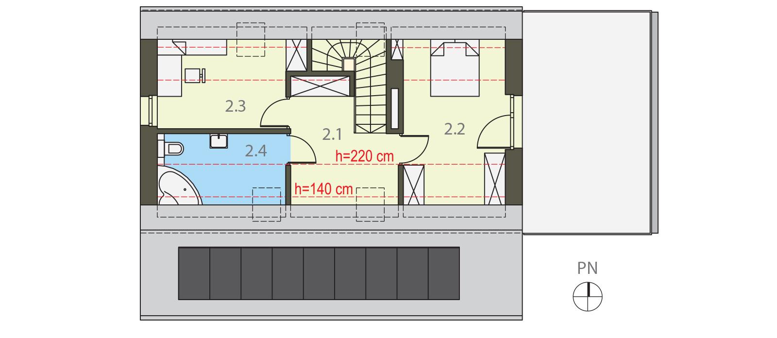 Projekt domu UROCZY Domy Czystej Energii rzut piętra
