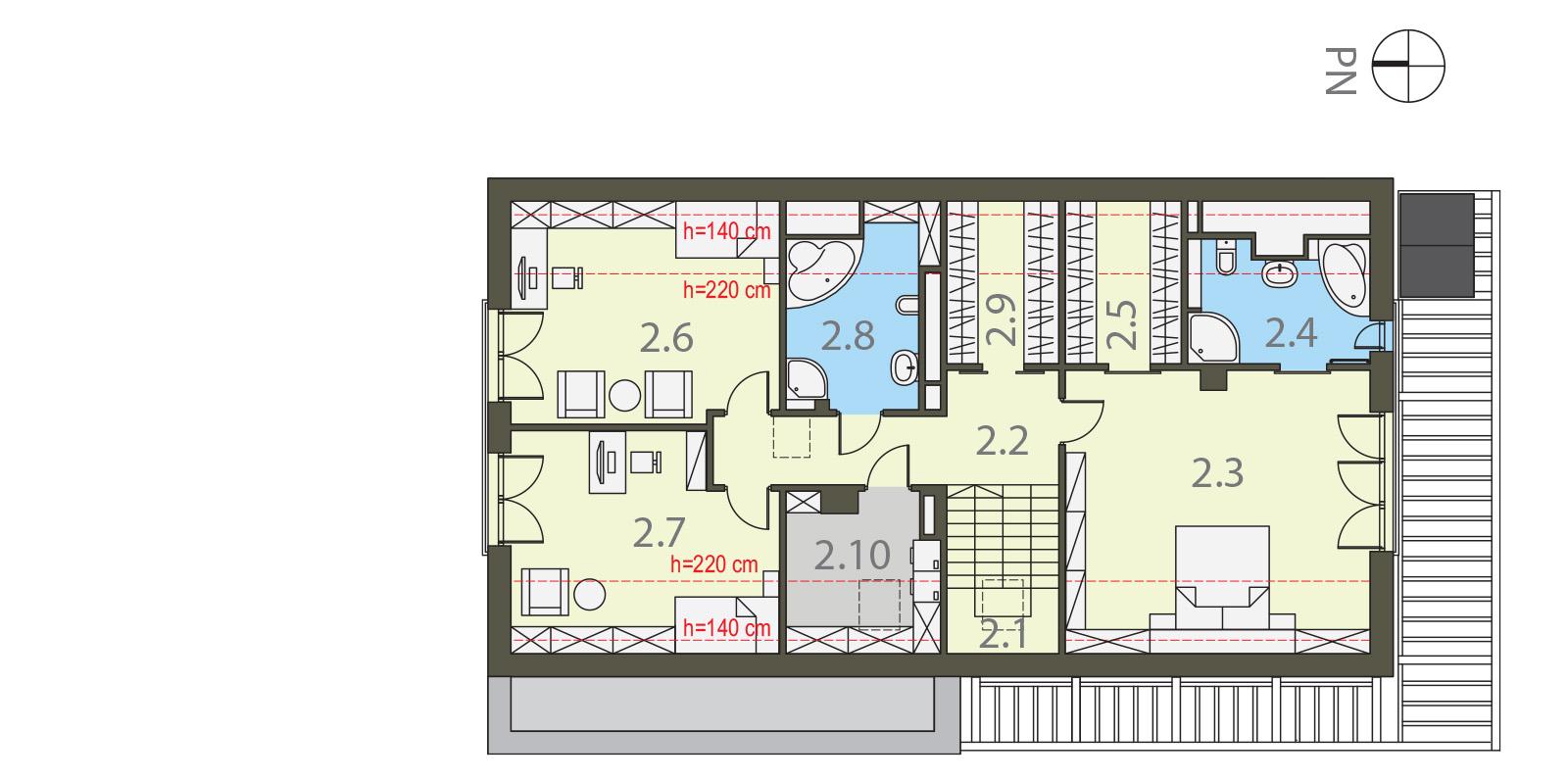 Projekt domu WĄSKI Domy Czystej Energii rzut piętra
