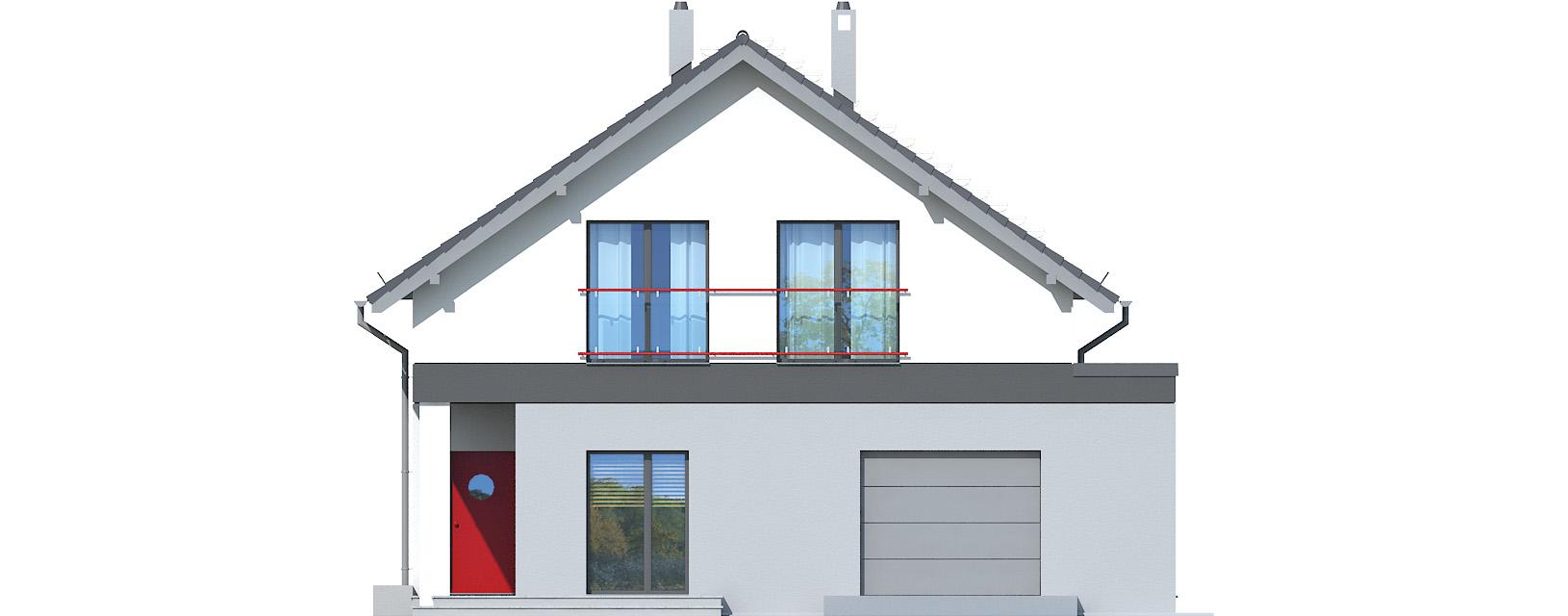 Projekt domu WĄSKI Domy Czystej Energii elewacja frontowa