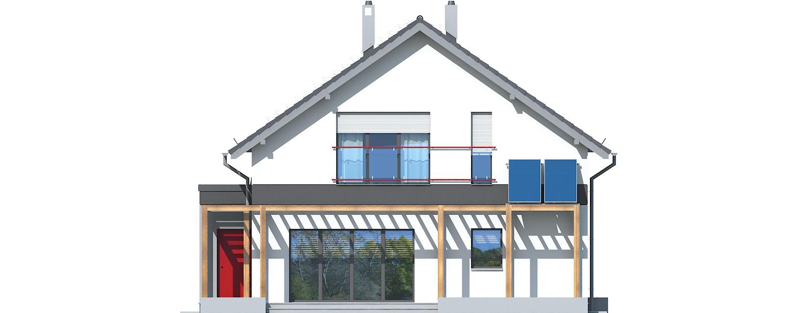 Projekt domu WĄSKI Domy Czystej Energii elewacja tylna