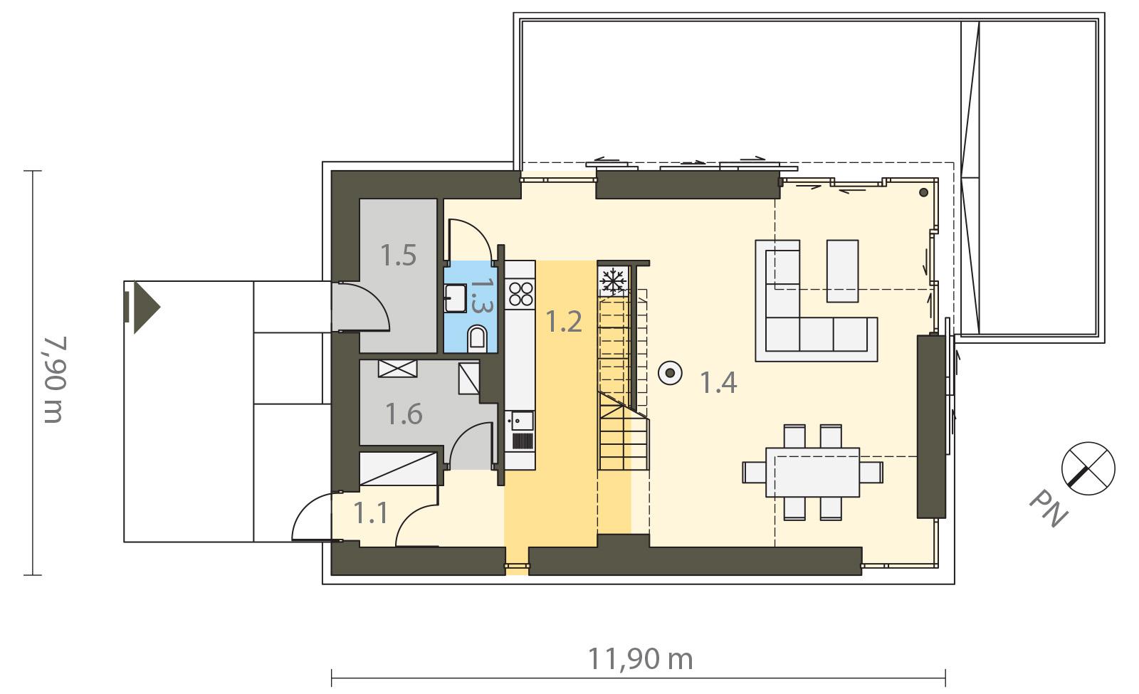 Projekt domu WIDOKOWY Domy Czystej Energii rzut parteru