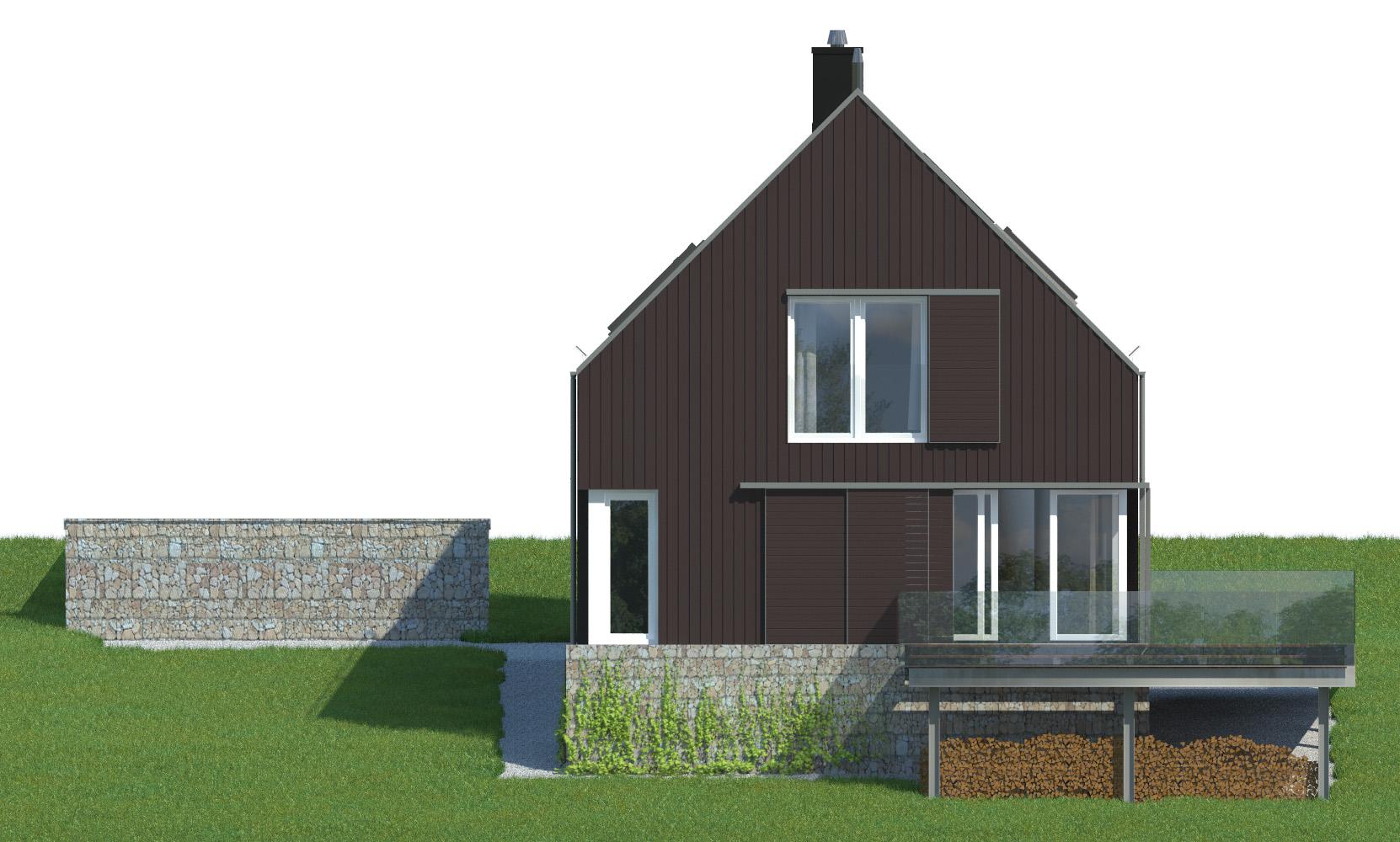 Projekt domu WIDOKOWY Domy Czystej Energii elewacja tylna