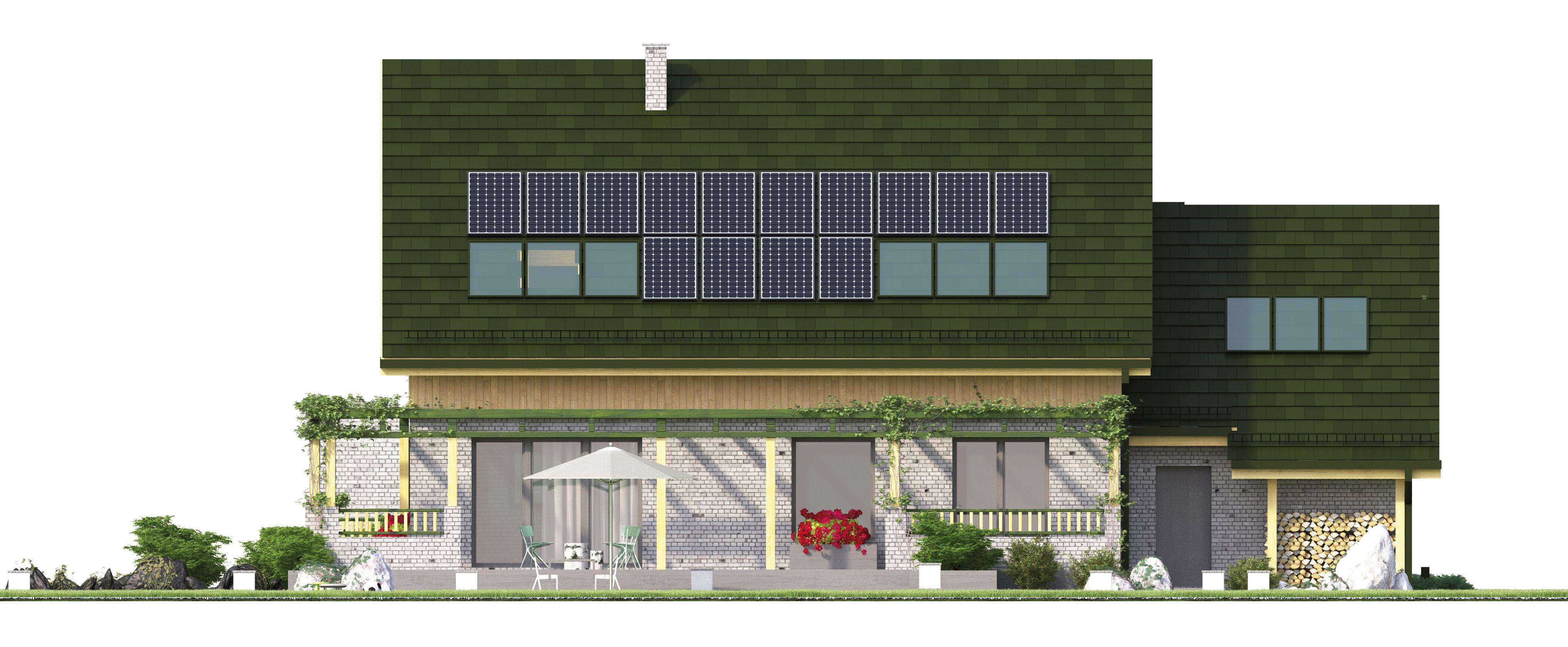 Projekt domu WIOSENNY Domy Czystej Energii elewacja tylna