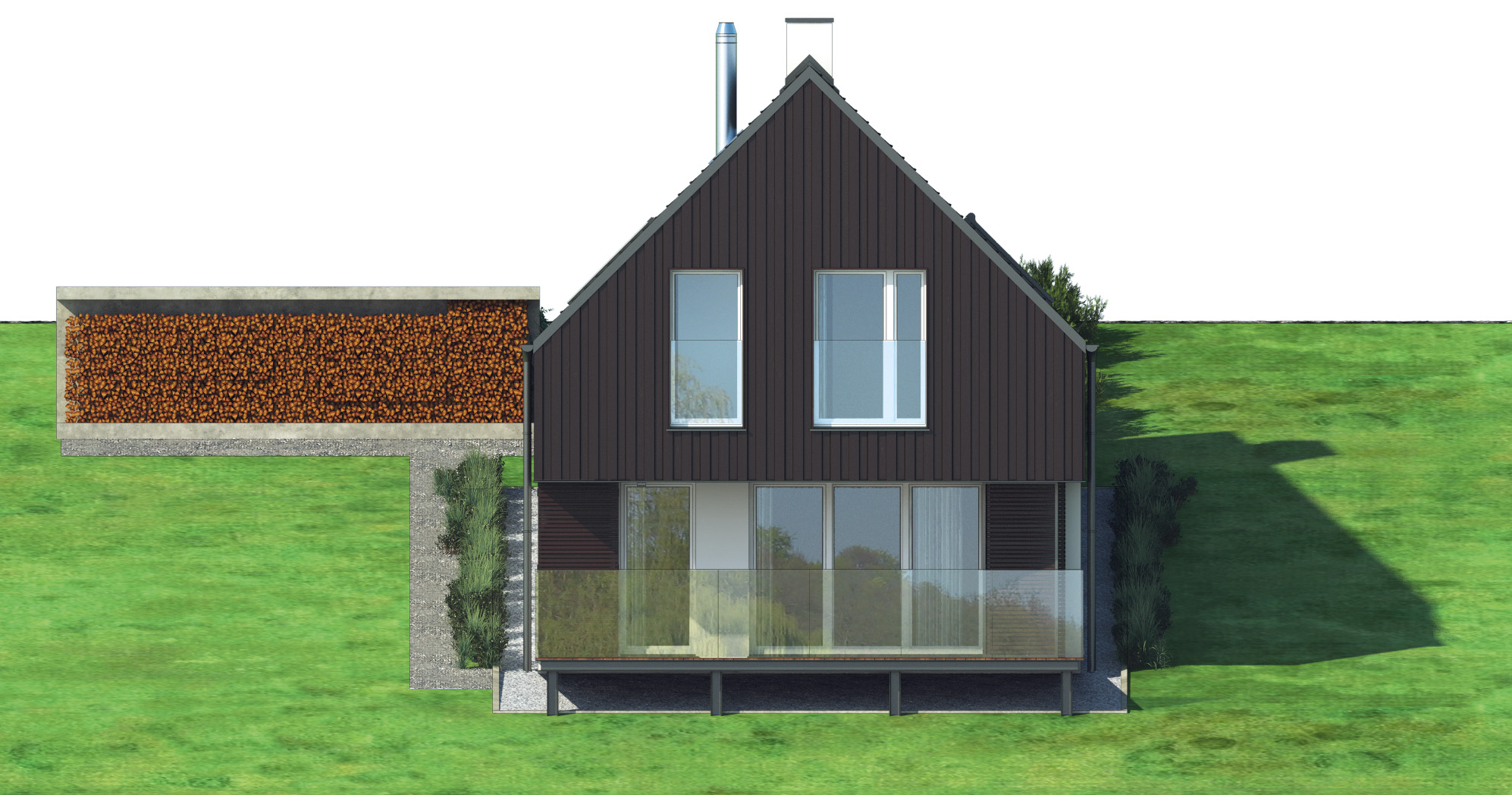 Projekt domu W KRAJOBRAZIE Domy Czystej Energii elewacja tylna