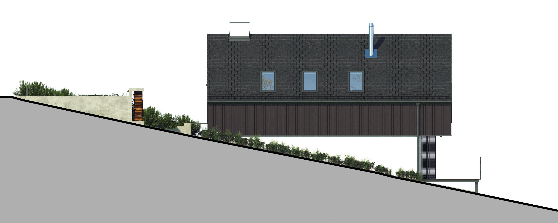 Projekt domu W KRAJOBRAZIE Domy Czystej Energii elewacja boczna