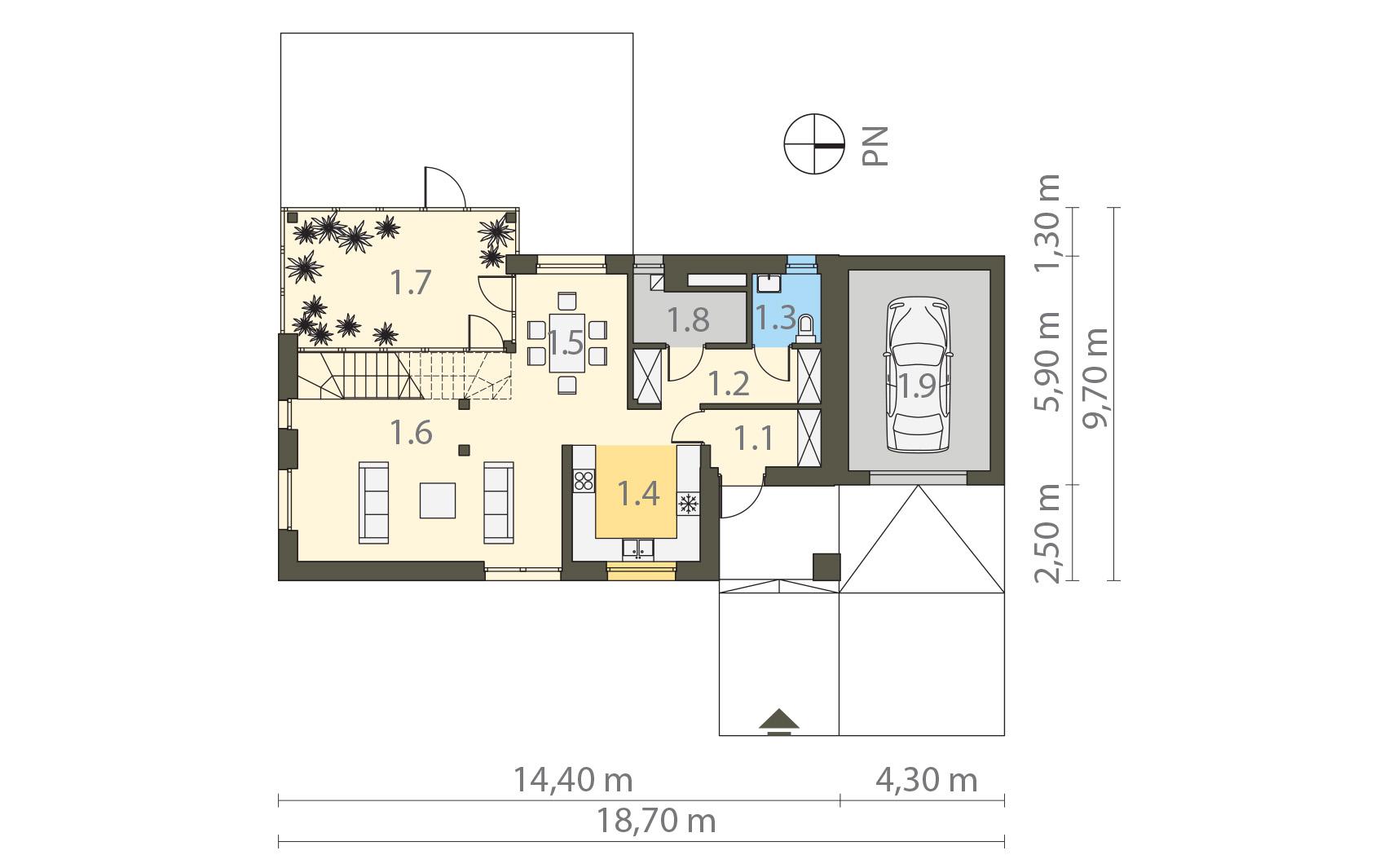 Projekt domu WYCIĘTY Z ANTRESOLĄ Domy Czystej Energii rzut parteru