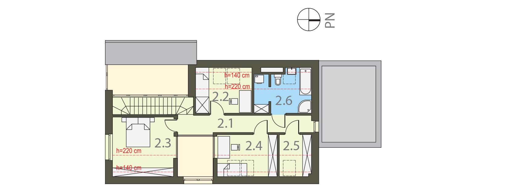 Projekt domu WYCIĘTY Z ANTRESOLĄ Domy Czystej Energii rzut piętra