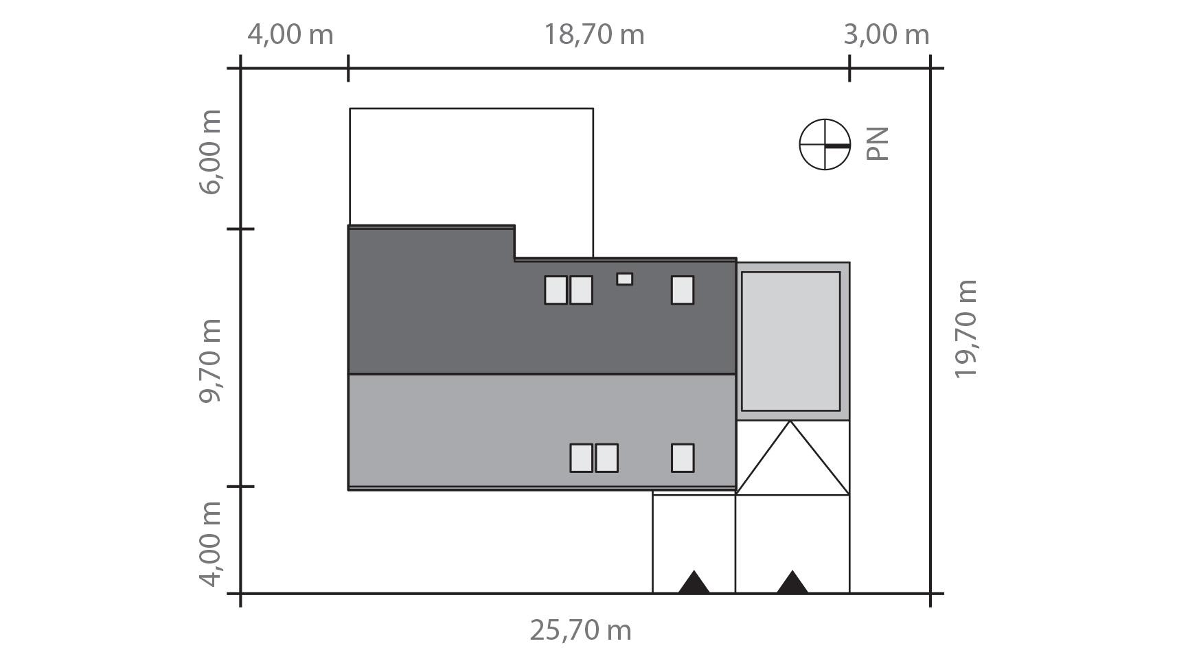 Projekt domu WYCIĘTY Z ANTRESOLĄ Domy Czystej Energii rzut działki