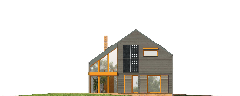 Projekt domu WYCIĘTY Z ANTRESOLĄ Domy Czystej Energii elewacja boczna