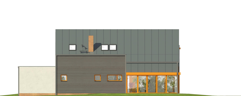 Projekt domu WYCIĘTY Z ANTRESOLĄ Domy Czystej Energii elewacja tylna