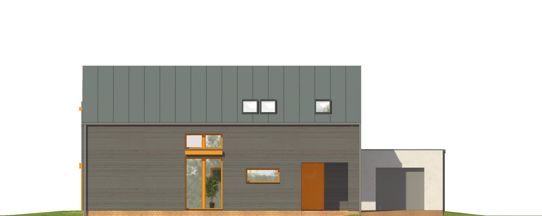 Projekt domu WYCIĘTY Z ANTRESOLĄ Domy Czystej Energii elewacja frontowa