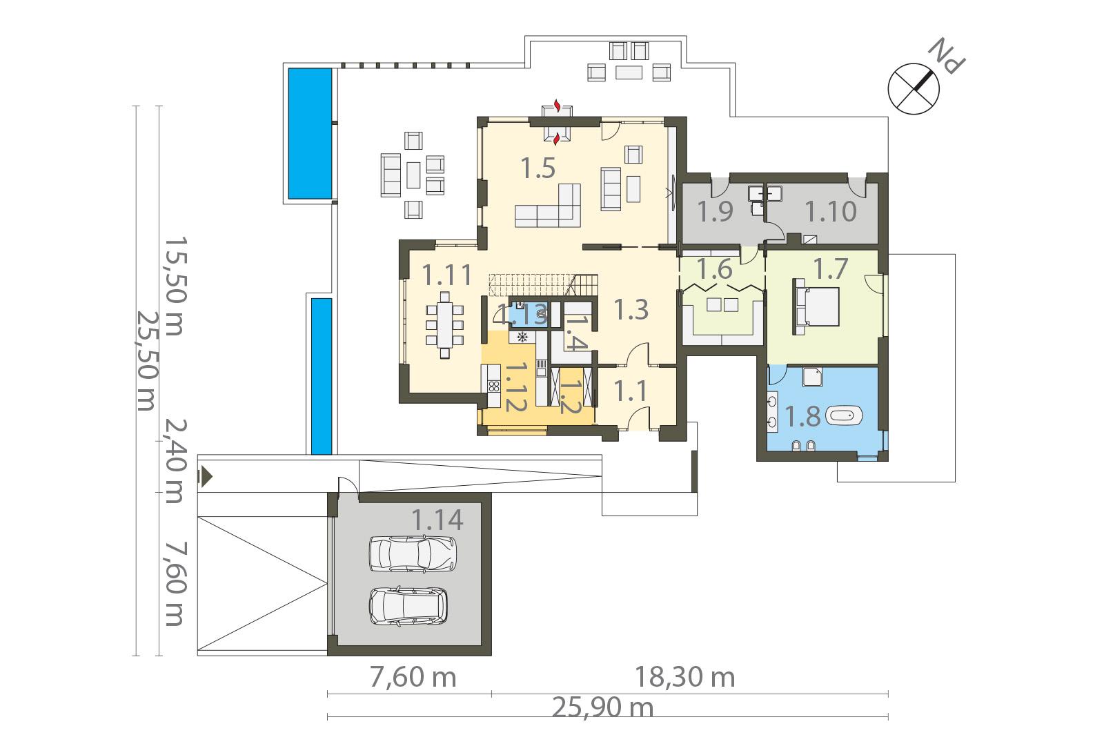 Projekt domu ZDROJOWY Domy Czystej Energii rzut parteruProjekt domu ZDROJOWY Domy Czystej Energii rzut parteru