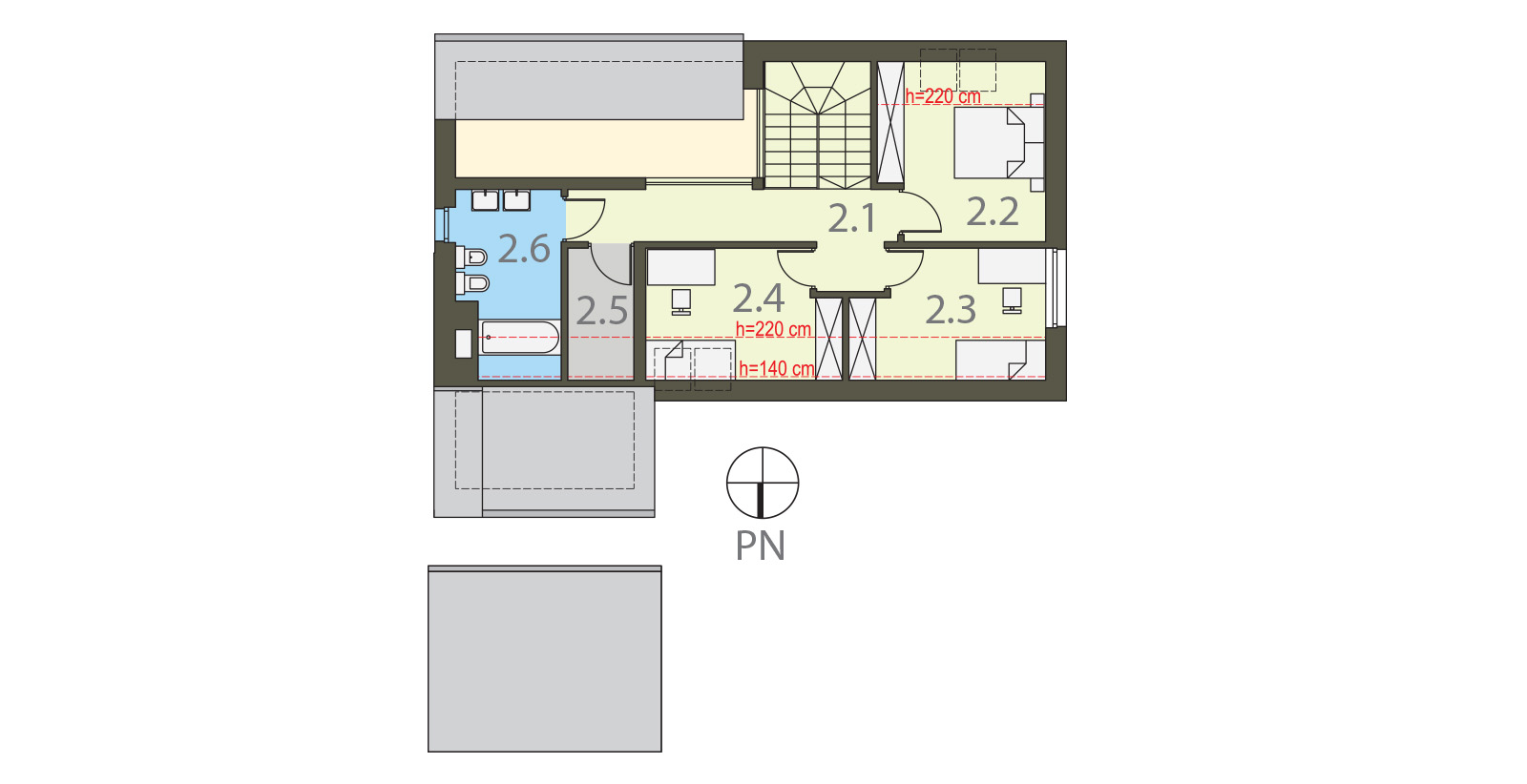 Projekt domu Z KOMINEM Domy Czystej Energii rzut piętra