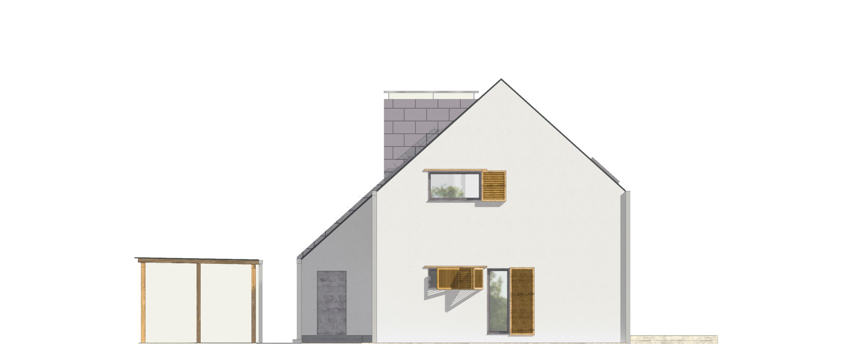 Projekt domu Z KOMINEM Domy Czystej Energii elewacja boczna