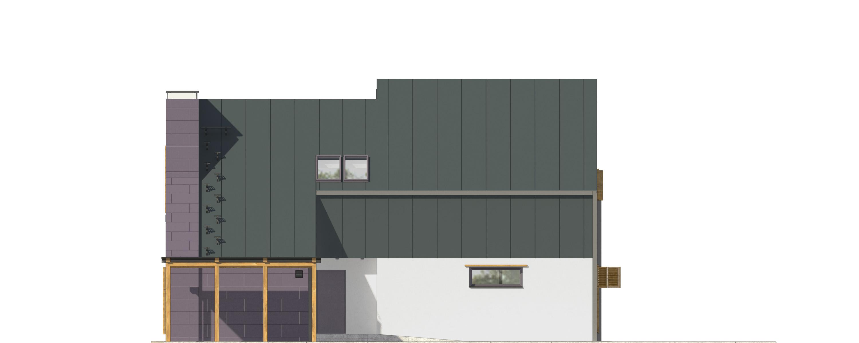 Projekt domu Z KOMINEM Domy Czystej Energii elewacja frontowa