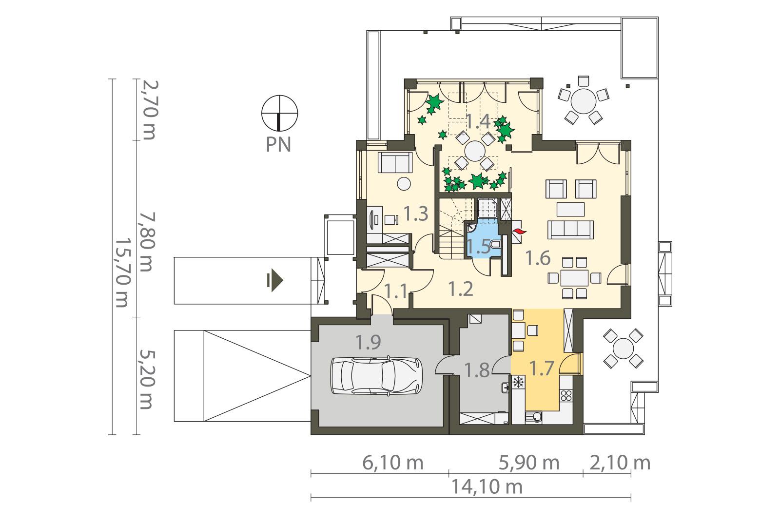 Projekt domu Z ORANŻERIĄ Domy Czystej Energii rzut parteru