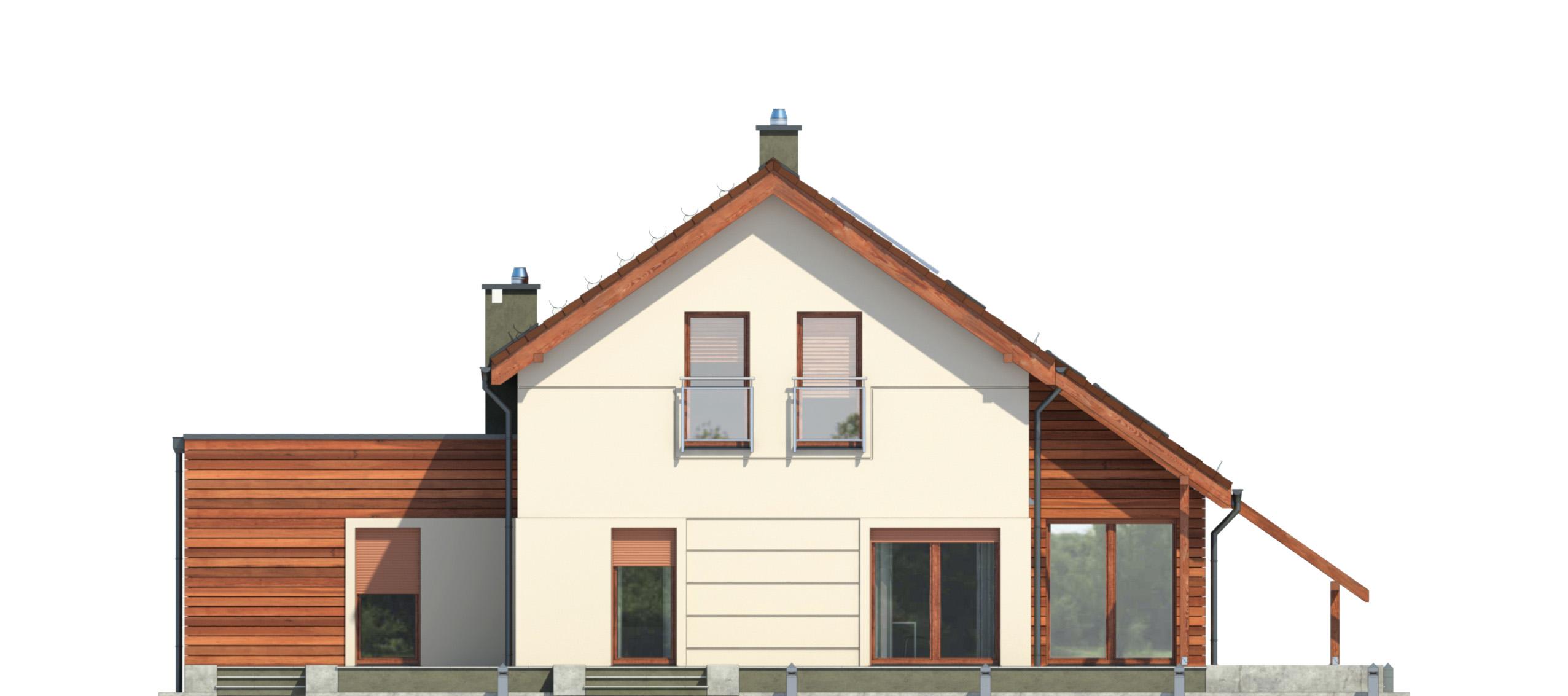 Projekt domu Z ORANŻERIĄ Domy Czystej Energii elewacja tylna